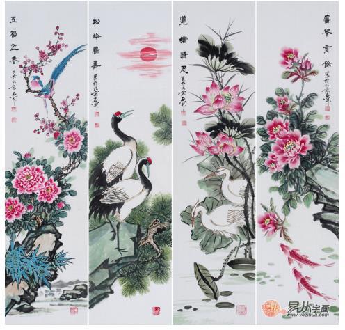 石开老师这幅四条屏中中画有牡丹,绶带鸟,仙鹤,松柏,旭日,荷花